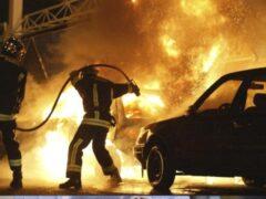 В Стрельне в результате ДТП загорелся автомобиль