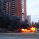 В Петербурге на проспекте Испытателей сгорел автобус