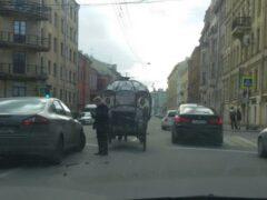 В центре Петербурга иномарка врезалась в гужевую повозку с лошадью