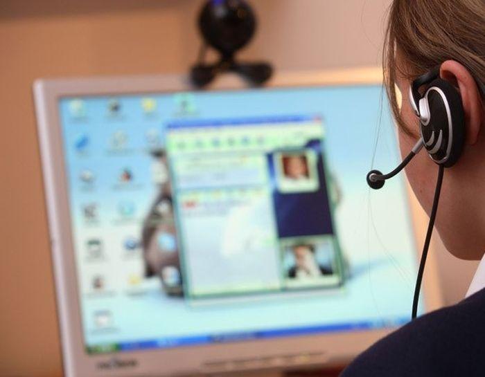 People watching computer webcam