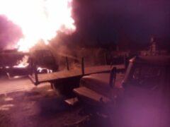 В Нижневартовске загорелась цистерна с дизтопливом