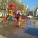 В Астрахани на улице Куликова водой залило детскую площадку