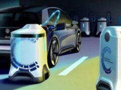 Volkswagen анонсировал мобильные зарядные терминалы-роботы