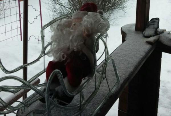 __зима, снег, скамейка, лавка, Дед Мороз