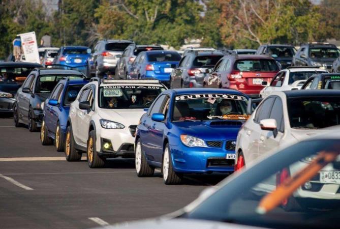 Subaru, авто, колонна