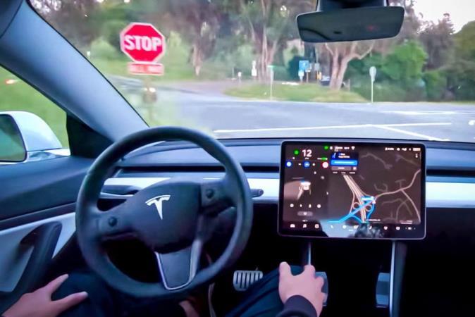 Tesla, улучшенный автопилот, тест