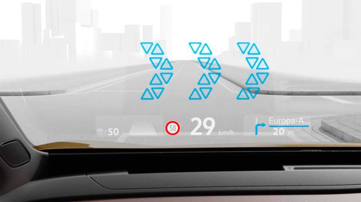 Volkswagen, проекционный дисплей с дополненной реальностью